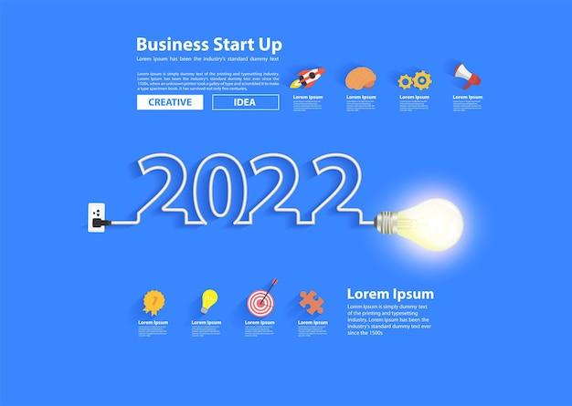 2022년 새해 디자인, 영감 사업 계획, 마케팅 전략, 팀워크, 브레인스토밍 아이디어 개념, 벡터 일러스트 레이 션 현대적인 디자인 레이아웃 템플릿으로 창의적인 전구 아이디어