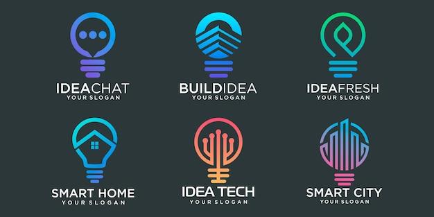 Creative light bulb logo icon set logo template art eco energy power electricity idea concept