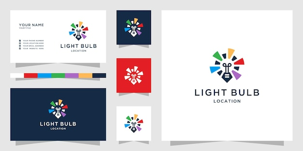 マップマーカーデザインのインスピレーションと創造的な電球のロゴ