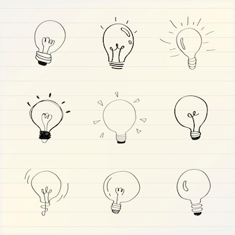 Creative light bulbs doodle collection vector