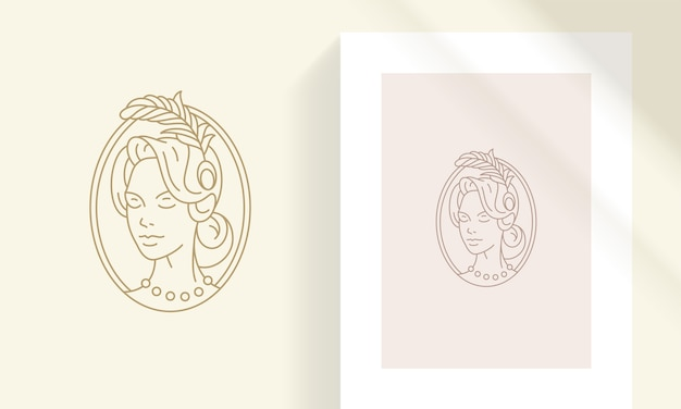 Creative line art elegant head of beautiful retro female with feather in hair outline style