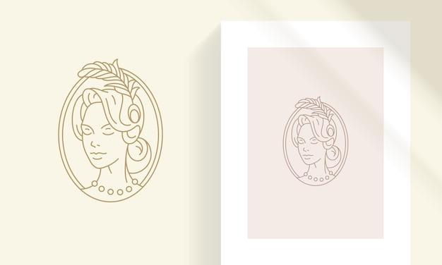 Креативная линия искусства элегантная голова красивой ретро женщины с пером в стиле контура волос