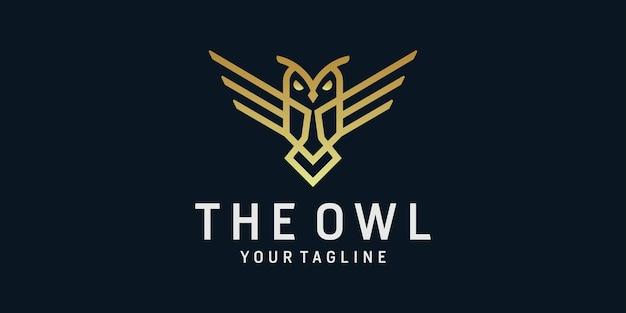 フクロウのロゴの創造的な線画
