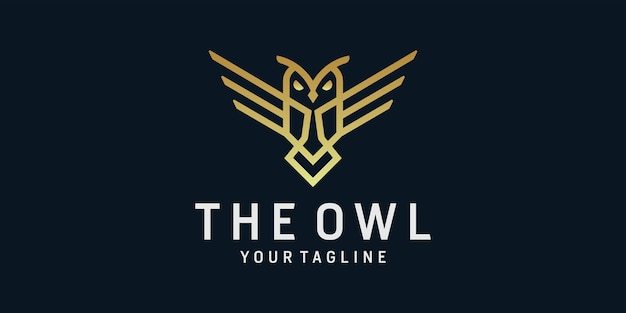 Creative line art of owl logo