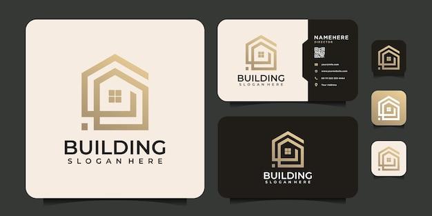 Креативная линия, строящая недвижимость, логотип, офисные ипотечные элементы
