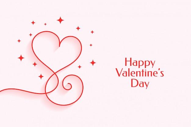幸せなバレンタインデーのための創造的なラインハート