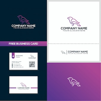 Creative line pigeon logo and business card design concept template