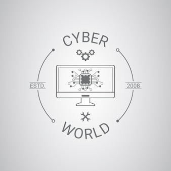 Креативный линейный плоский шаблон логотипа ноутбука
