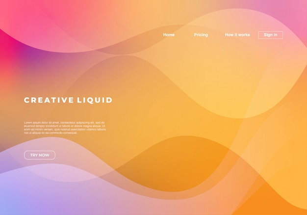 Creative liquid background with landing page template