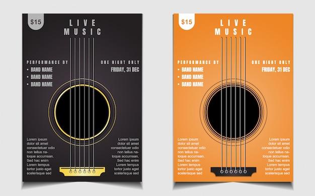 Креативный плакат с живой музыкой или шаблон дизайна флаера