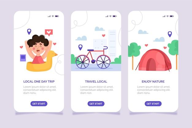 クリエイティブな地元の観光アプリのインターフェース