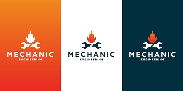 Creative logo design for mechanical and garage business with gradient color