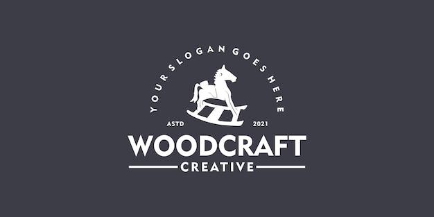 목공예, 빈티지 로고, 의류, 장난감 가게, 어린이 장난감 로고를 위한 창의적인 로고.