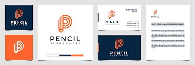 라인 아트 스타일 로고 명함 및 레터 헤드가있는 크리에이티브 로고 연필