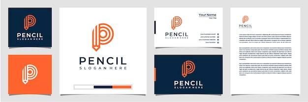Creative logo pencil with line art style logo business card and letterhead