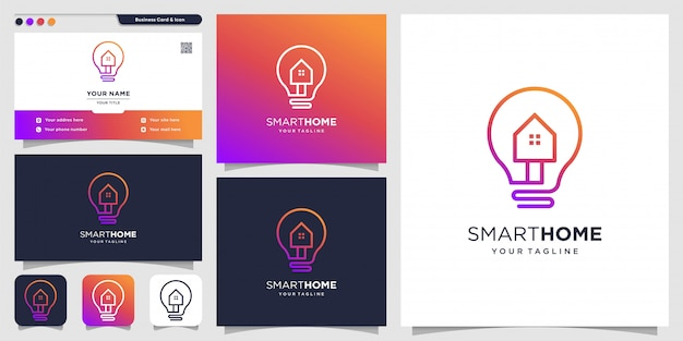 Creative logo for smart home and business card design template, home, smart, creative
