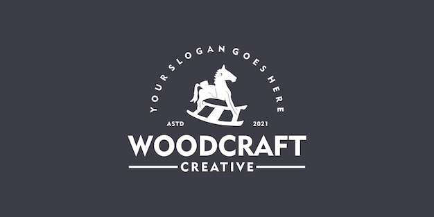 Creative logo for woodcraft, vintage logo, clothing, toy shop, children's toy logo.