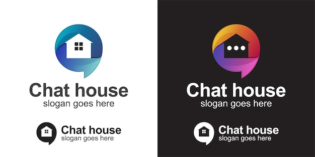 Creative logos of house talk chat bubble gradient logo inspirations