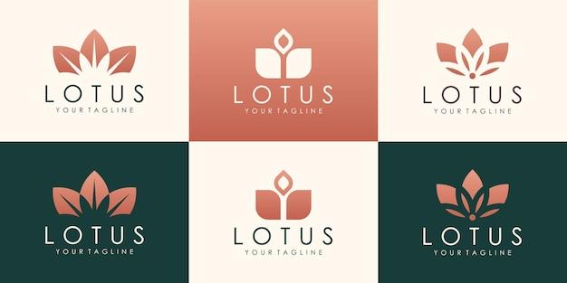 創造的な蓮のベクトルのロゴのデザイン。線形ユニバーサルリーフ花のロゴのテンプレート。