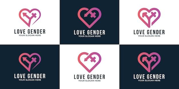 クリエイティブな愛の性別のロゴデザインと名刺