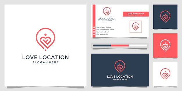 Creative love location logo  concept line art style. combine heart, pin, map and people logo design  and business card