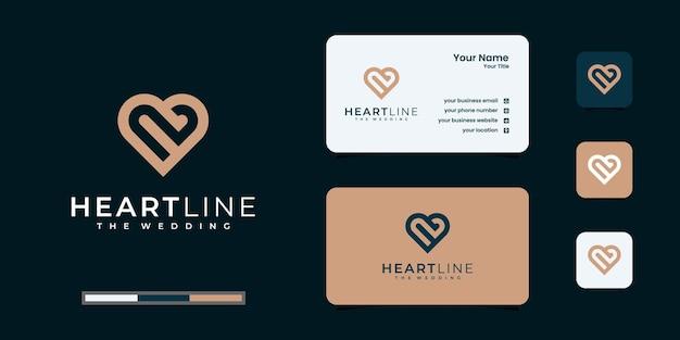 창조적 인 사랑 자연 또는 심장 로고 디자인 서식 파일. 화이트 라인 아트 스타일. 로고 및 명함 디자인.