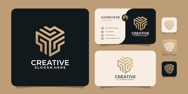 Creative luxury abstract geometric logo vector elements with business card