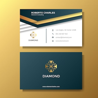 Creative luxury business card with gold background template