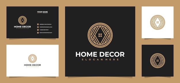 Creative luxury home decoration logo design with business card