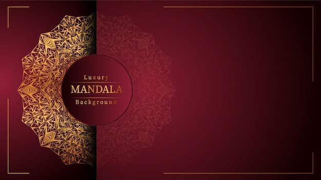 Creative luxury mandala banner background with golden arabesque decoration