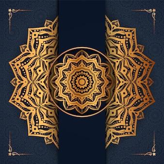 Creative luxury mandala design with golden arabesque decoration