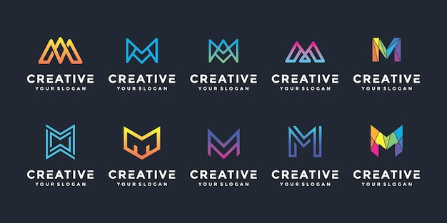 Creative m letter logo icon set for luxury business