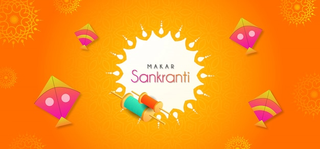 Creative makar sankranti greeting with flying kites