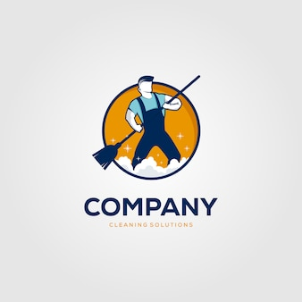 Creative man cleaning concept logo design template