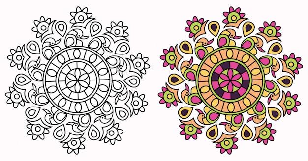 創造的なマンダラデザインの塗り絵