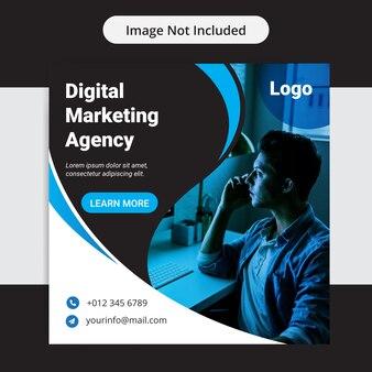 Креативное маркетинговое агентство бизнес социальные медиа инста пост дизайн шаблона