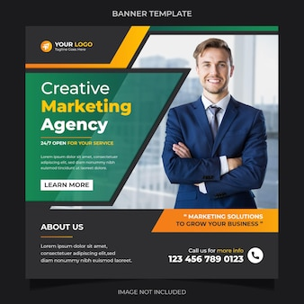 Creative marketing agency social media banner instagram post template gradient design vector premium