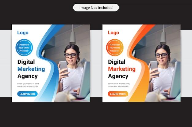 Креативное маркетинговое агентство социальных медиа insta post шаблон оформления Premium векторы