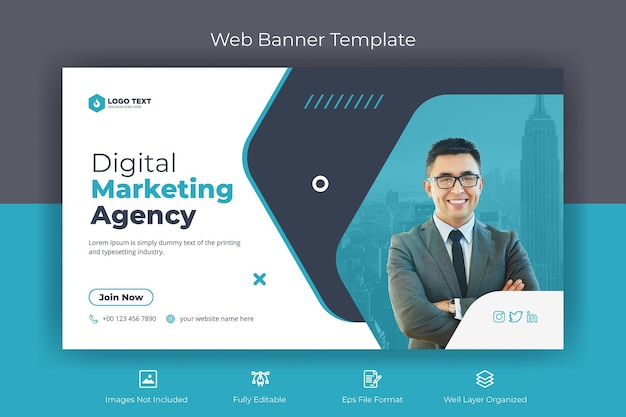Creative marketing agency web banner and youtube thumbnail template