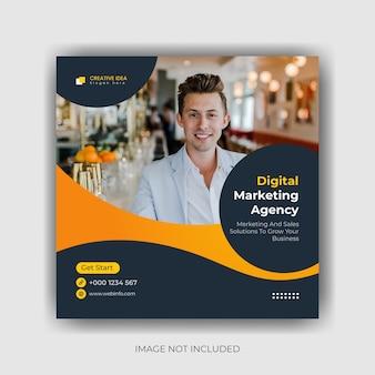 クリエイティブマーケティングソーシャルメディアバナーとinstagramの投稿テンプレートデザインプレミアムベクトル