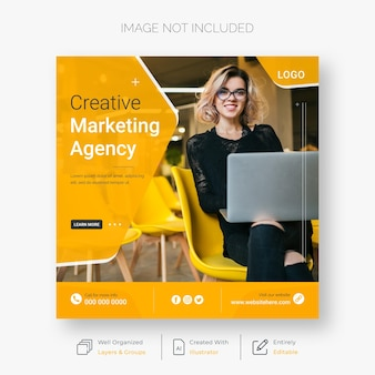 Creative marketing social media and instagram post template