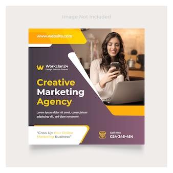 Creative marketing social media post template square premium vector