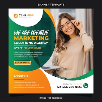 Creative marketing solution agency social media banner instagram post template design vector premium