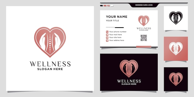 Creative massage logo with negative space concept and business card design premium vector