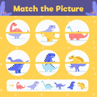 Creative match game worksheet with dinosaurs