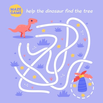 Рабочий лист творческого лабиринта для детей с динозавром
