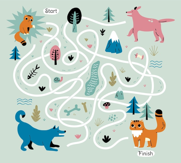 Creative maze for kids illustrated
