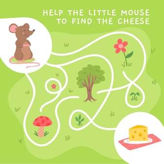 Labirinto creativo per bambini con illustrazioni