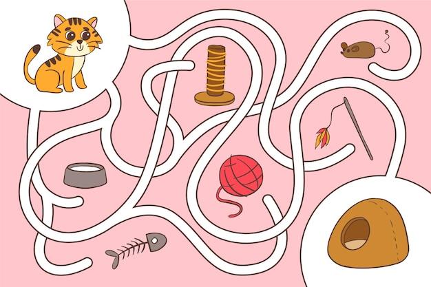 Labirinto creativo per foglio di lavoro per bambini con gattino