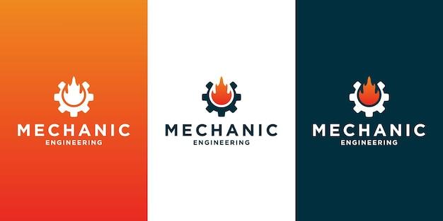 あなたのビジネスの機械的およびワークショップのための創造的な機械的ロゴデザインテンプレート